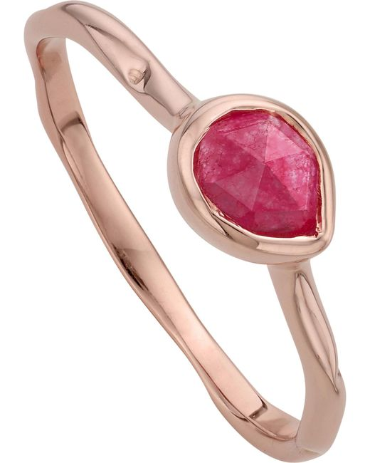 Monica Vinader - Metallic Siren 18ct Rose Gold Vermeil And Pink Quartz Small Stacking Ring - Lyst