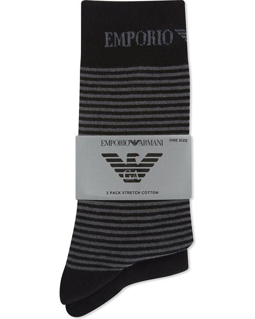 Emporio Armani | Black Plain And Striped Socks 2-pack for Men | Lyst