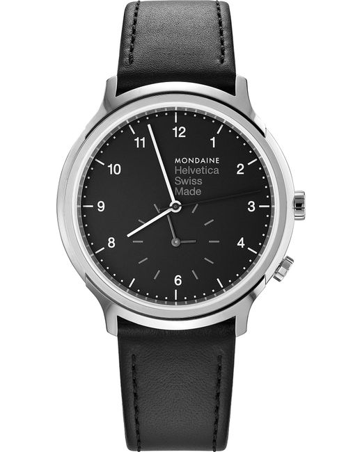 Mondaine - Multicolor Mh1-r2020-lb Helvetica No1 Regular Leather And Stainless Steel Watch - Lyst
