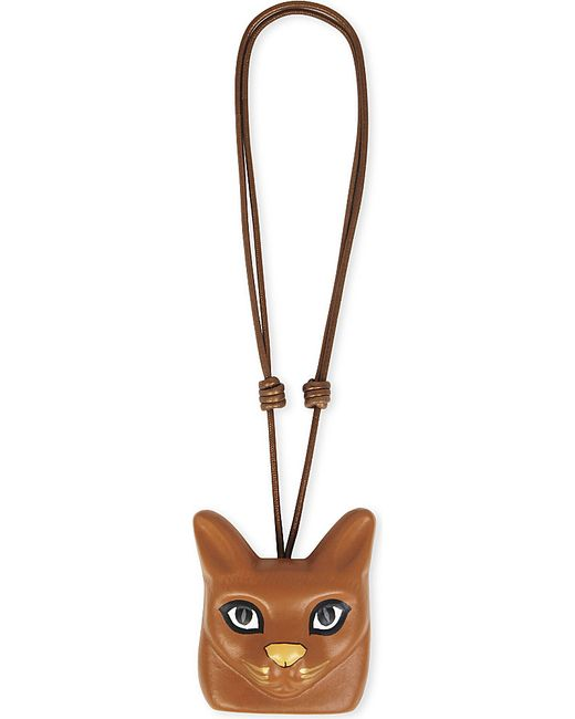 Loewe   Brown Cat Face Leather Necklace   Lyst