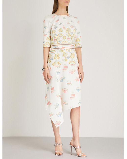 Peter Pilotto - White Fig Tree-print Cady Midi Dress - Lyst