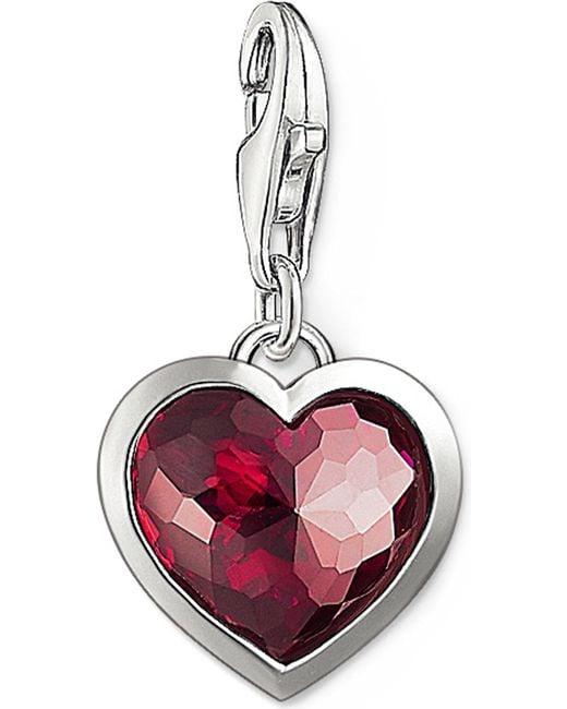Thomas Sabo   Metallic Charm Club Silver And Corundum Heart Charm   Lyst