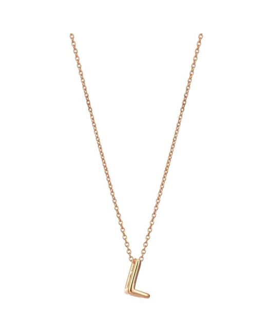 The Alkemistry   Metallic Kismet By Milka 14ct Rose-gold Initial L Necklace   Lyst