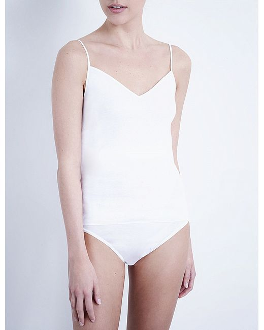 Hanro | White Seamless Cotton Camisole | Lyst