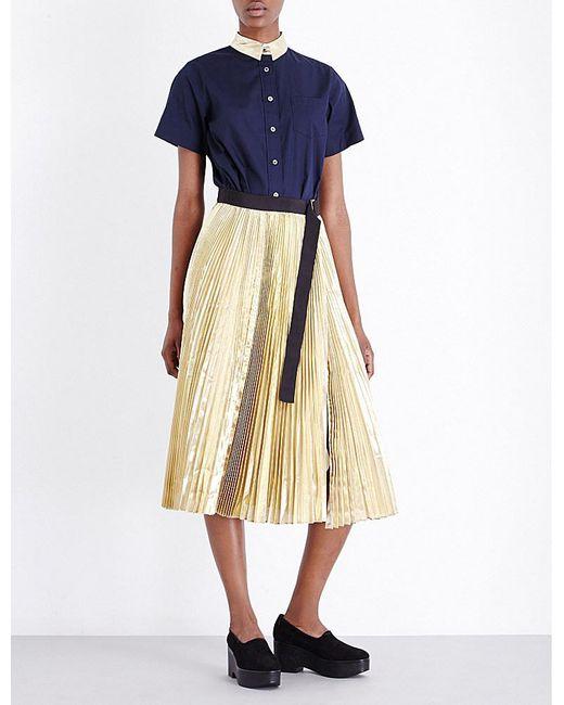 Sacai | Blue Pleated Poplin And Metallic Shirt Dress | Lyst