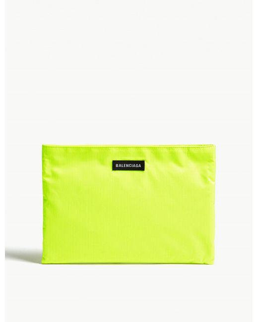 Balenciaga - Yellow Neon Green Explorer Pouch - Lyst