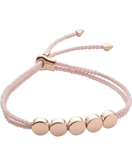 Monica Vinader - Metallic Linear Bead 18ct Rose-gold Plated Friendship Bracelet - Lyst