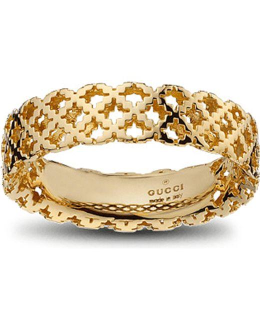 Gucci - Metallic Motif 18ct Yellow-gold Ring - Lyst