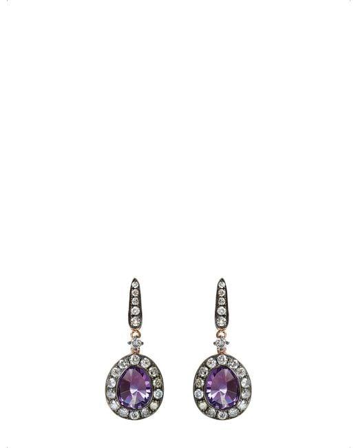 Annoushka - Purple 18ct Rose Gold Amethyst And Grey Diamond Earrings - Lyst