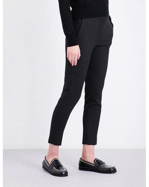 Sandro - Black Skinny Cropped Twill Trousers - Lyst