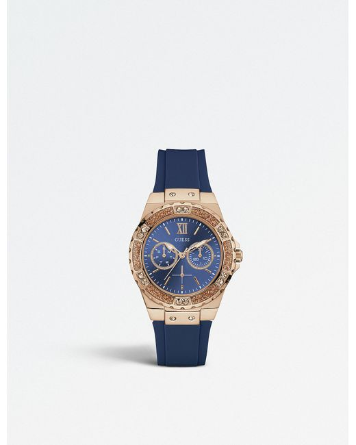 Guess | Blue W1053l1 Limelight Stainless Steel And Rubber Watch | Lyst
