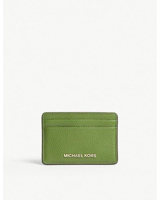 MICHAEL Michael Kors - Michael Kors Ladies True Green Grained Money Pieces Leather Card Holder - Lyst