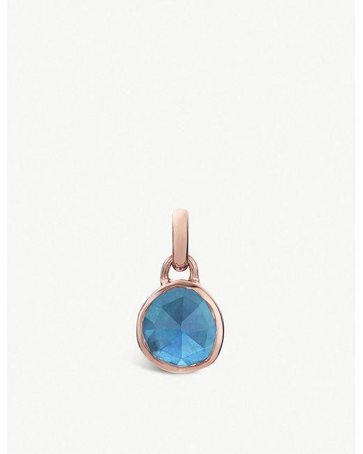 Monica Vinader - Blue Siren Mini 18ct Rose-gold Vermeil And Kyanite Bezel Pendant - Lyst