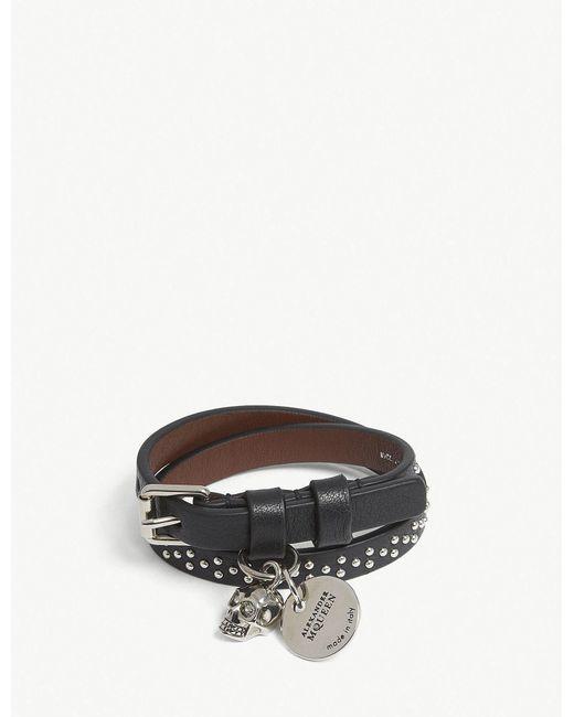 Alexander McQueen - Multicolor Skull Studded Leather Double-wrap Bracelet - Lyst