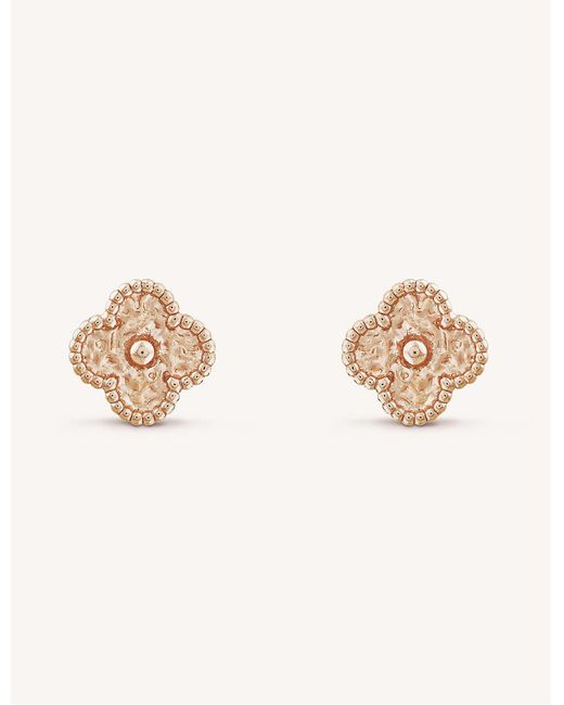 Van Cleef & Arpels Metallic Sweet Alhambra Gold Stud Earrings