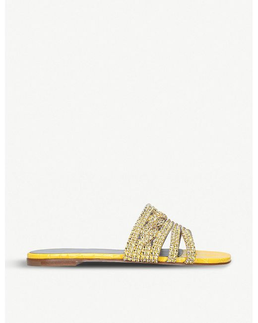2a323abb2948 Lyst - Gina Loren Crystal-embellished Leather Sandals in Yellow ...