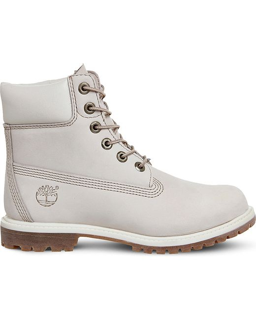 timberland 6 inch leather boots in white lyst