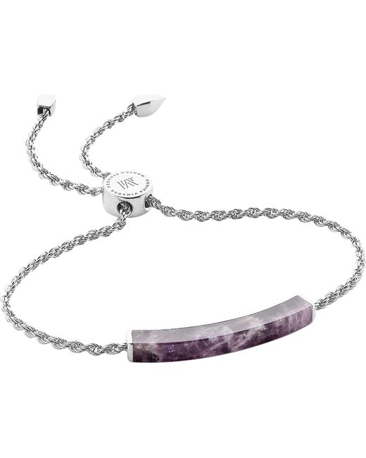 Monica Vinader - Metallic Linear Sterling Silver And Amethyst Bracelet - Lyst