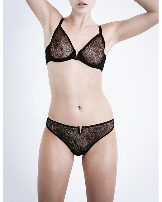 Implicite | Black Pulsion Stretch-tulle Underwired Plunge Bra | Lyst