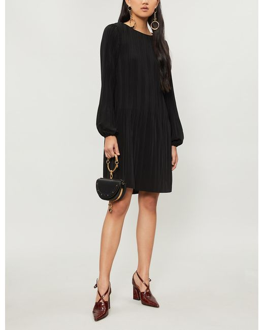 048cda592dd1 Maje Rockin Pleated Crepe Mini Dress in Black - Lyst