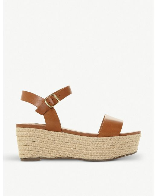Steve Madden - Brown Busy Sm Leather And Jute Platform Sandals - Lyst