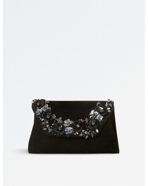 Dune | Black Bathilda Leather Embellished Clutch Bag | Lyst