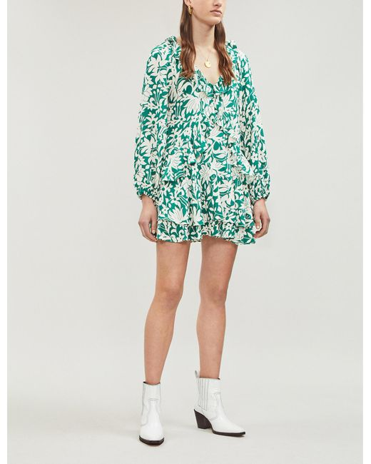 4efb311ef0485 Free People Rebecca Ruffled Mini Dress in Green - Save 5% - Lyst