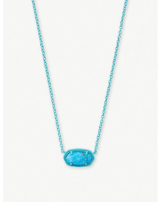 Kendra Scott - Blue Elisa Matte Aqua Howlite Pendant Necklace - Lyst