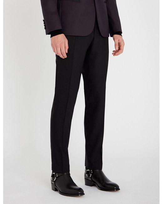 The Kooples - Black Birdseye-pattern Regular-fit Tapered Wool Trousers for Men - Lyst