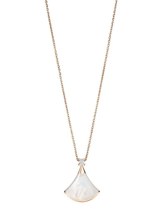 BVLGARI | White Divas' Dream 18kt Pink-gold With Mother Of Pearl And Pave Diamond Necklace | Lyst
