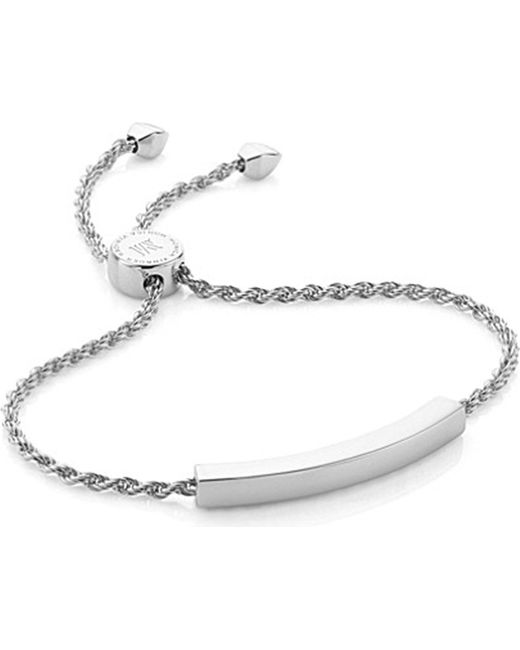 Monica Vinader - Black Linear Silver Friendship Bracelet - Lyst