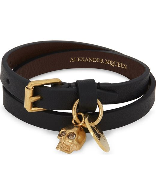 Alexander McQueen - Black Skull Double-wrap Leather Bracelet - Lyst
