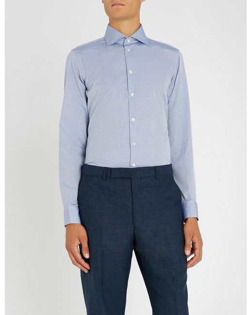 Richard James - Blue Optic Spot-pattern Slim-fit Cotton Shirt for Men - Lyst
