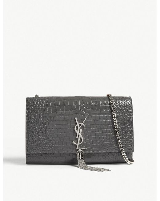 Saint Laurent - Gray Ladies Storm Grey Embossed Monogram Kate Crocodile-embossed Leather Shoulder Bag - Lyst