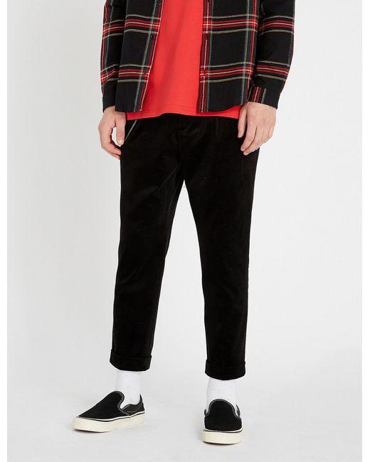 The Kooples - Black Stretch-velvet Regular-fit Trousers for Men - Lyst