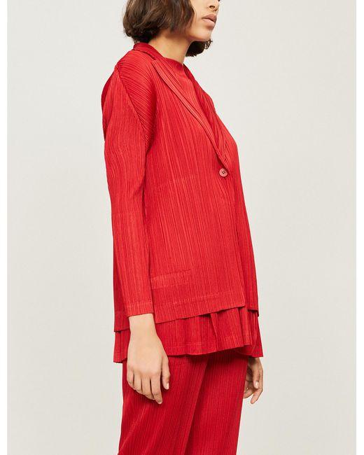 Pleats Please Issey Miyake - Red Monthly Pleated Jacket - Lyst