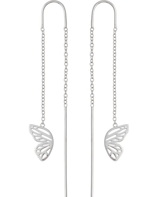 Olivia Burton | Metallic Butterfly Wing Sterling Silver Chain Drop Earrings | Lyst