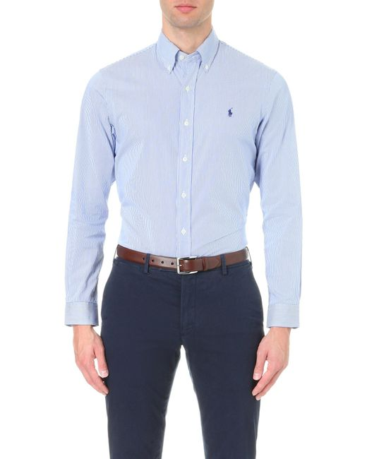 Polo Ralph Lauren | Blue Slim-fit Single-cuff Checked Shirt for Men | Lyst
