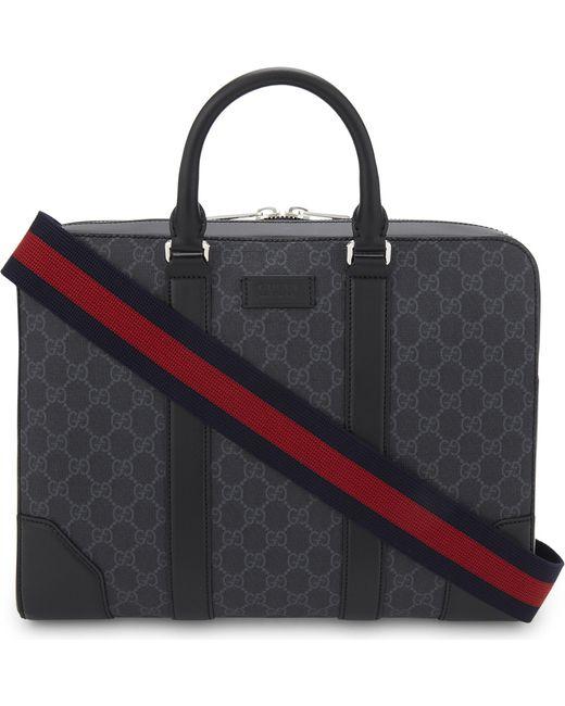 59c89ce49840 Gucci GG Supreme Briefcase in Black for Men - Lyst
