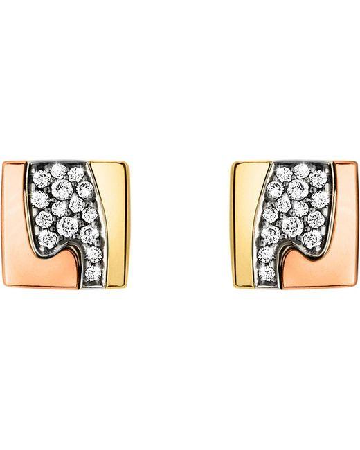 Georg Jensen | Metallic Fusion Pavé-set 18ct Gold Stud Earrings | Lyst