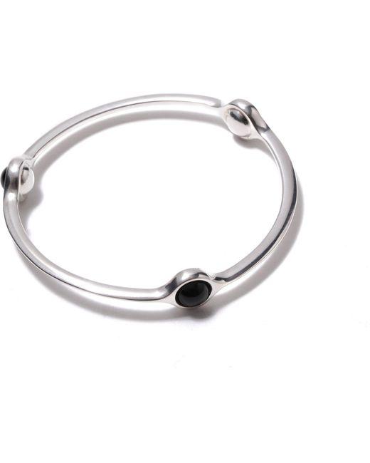 Georg Jensen | Metallic Sphere Sterling Silver Black Agate Bangle | Lyst