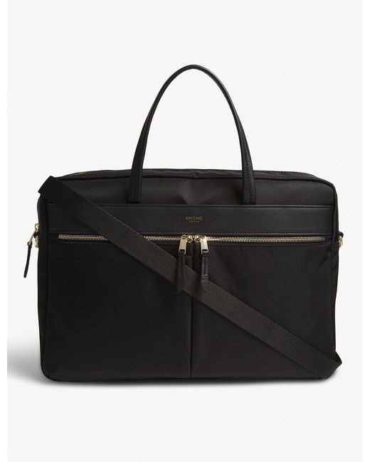 Knomo - Black Check Mayfair Hanover Slim Leather Briefcase for Men - Lyst