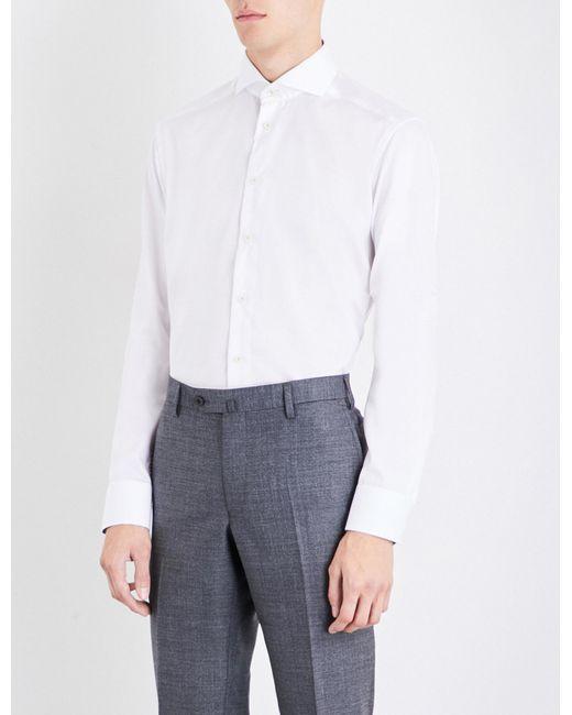 Eton of Sweden - White End-on-end-patterned Slim-fit Cotton Shirt for Men - Lyst