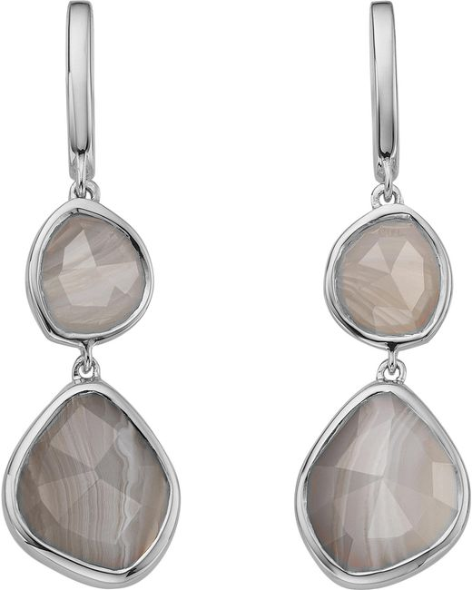 Monica Vinader - Metallic Siren Double Drop Nugget Sterling Silver And Blue Lace Agate Earrings - Lyst