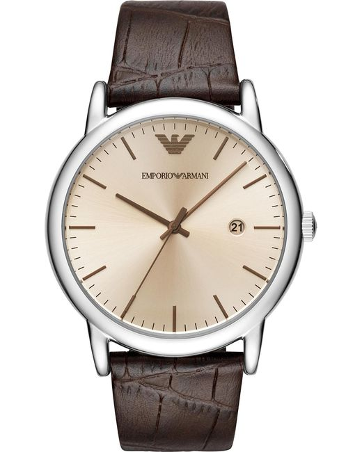 Emporio Armani - Natural Ar11096 Luigi Stainless Steel And Leather Strap Quartz Watch for Men - Lyst
