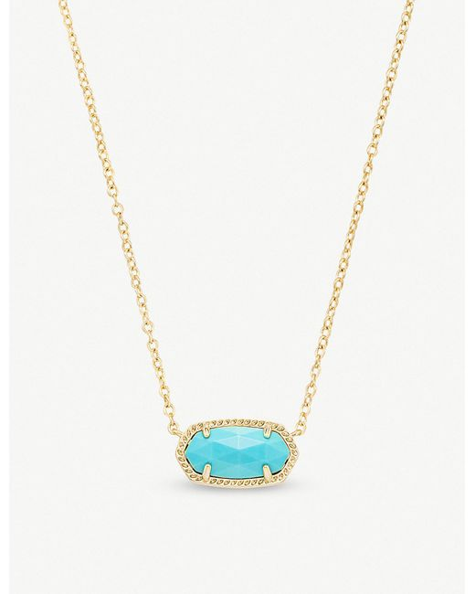 Kendra Scott - Blue Elisa 14ct Gold-plated And Turquoise Magnesite Pendant Necklace - Lyst