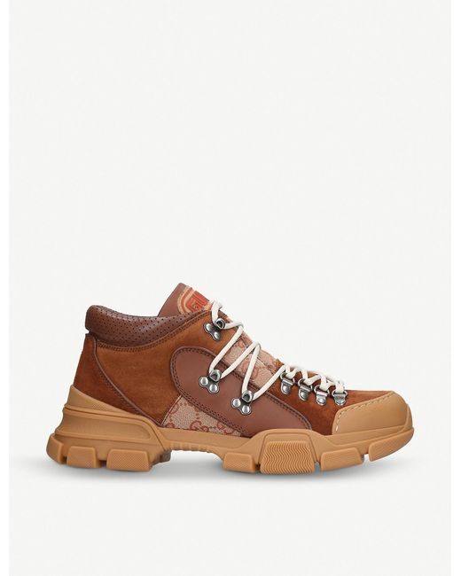f6c190ed2933 Lyst - Gucci Journey Trek Leather And Canvas Trainers in Brown for ...