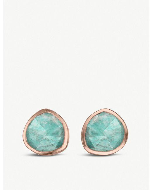 Monica Vinader - Green Siren 18ct Rose-gold Vermeil And Amazonite Stud Earrings - Lyst