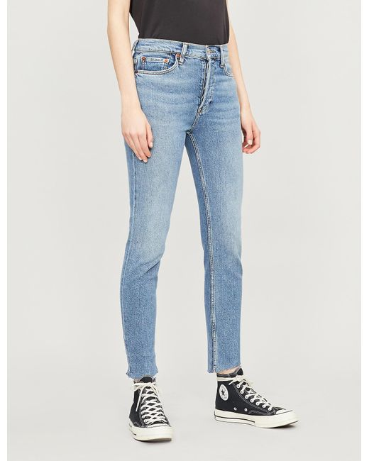Re/done - Blue Faded Skinny High-rise Cropped Jeans - Lyst