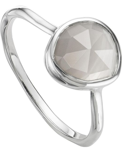 Monica Vinader - Black Siren Sterling Silver And Grey Agate Stacking Ring - Lyst
